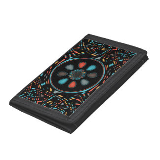 Abstract on black trifold wallets