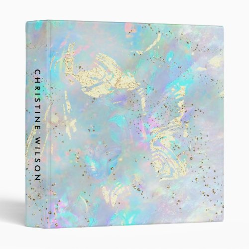 abstract opal faux glitter details 3 ring binder