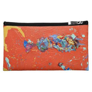Abstract Orange African Woman Bag Cosmetic Bags