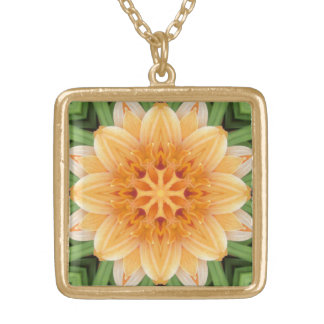 Abstract Orange and Green Kaleidoscope Flower Gold Plated Necklace