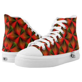 Abstract Orange And Green Pattern High-Top Sneakers