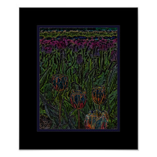 Abstract Orange Blue Purple Tulip Field Poster