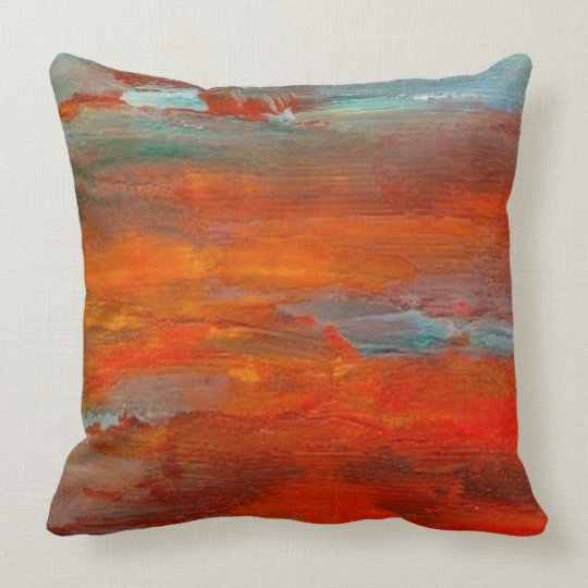 Abstract Orange Blue Sunset Beach Scene Pillow Zazzle Com
