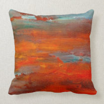 Abstract Orange Blue Sunset Beach Scene Pillow