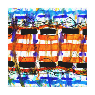 ABSTRACT ORANGE BLUE   WRAPPED CANVAS ART CANVAS PRINT