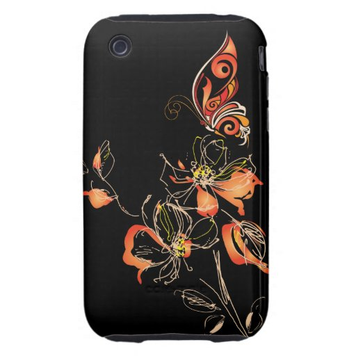 Abstract Orange Butterfly and Floral iPhone 3 Tough Covers