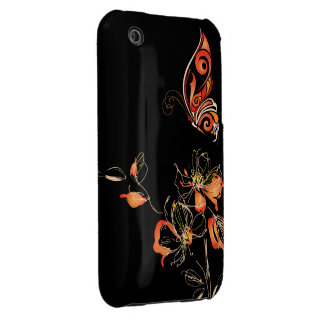 Abstract Orange Butterfly and Floral iPhone 3 Case