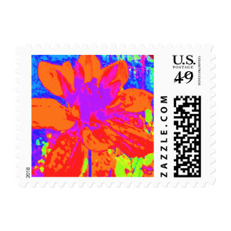 Abstract Orange Dahlia Flower Painting Postage