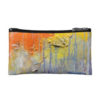 Abstract Orange Drip Bagette Makeup Bags