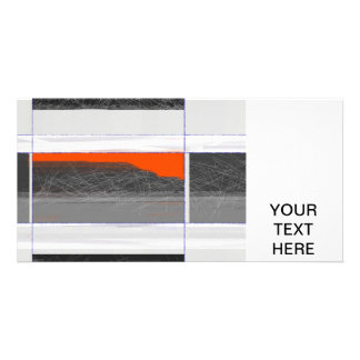 Abstract Orange Flag Personalized Photo Card
