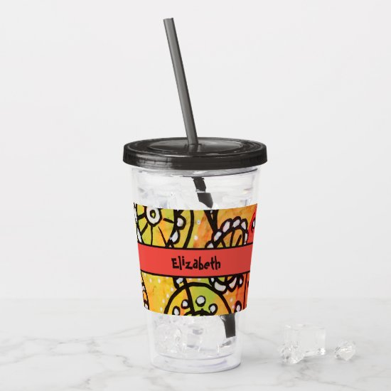 Abstract Orange Floral Flowers Lime Green Black Acrylic Tumbler
