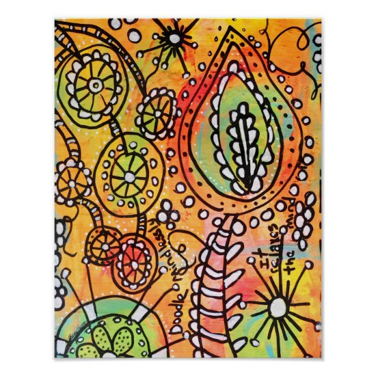 Abstract Orange Floral Flowers Lime Green Black Poster