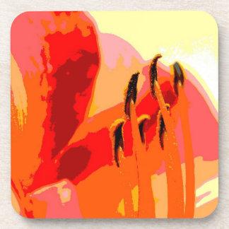 Abstract Orange Flower Coasters