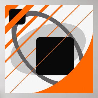 Abstract Orange Gray Off-White Black AP0002 Poster