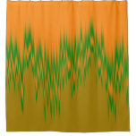[ Thumbnail: Abstract Orange, Green, Brown Wave Pattern Shower Curtain ]