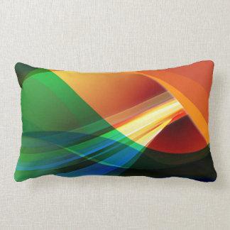 Abstract Orange Green Lumbar Pillow