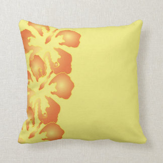 Abstract Orange Hibiscus Flowers on Yellow Throw Pillow