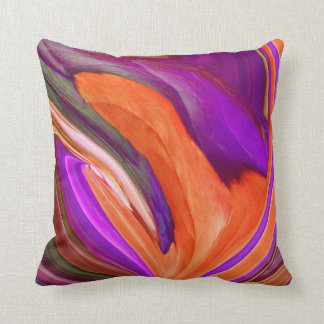 Abstract Orange N Purple Leaf Throw Pillow