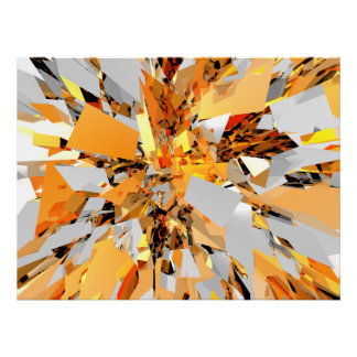 Abstract Orange Shapes Cluster Poster