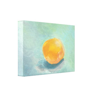 Abstract Orange Sphere Still Life in Watercolor Stretched Canvas Prints
