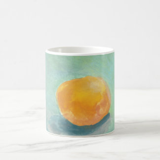 Abstract Orange Sphere Still Life in Watercolor Coffee Mug