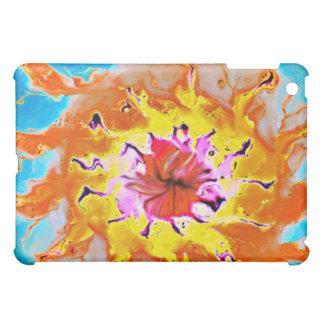 Abstract Orange Sun on a Light Blue Background iPad Mini Cover