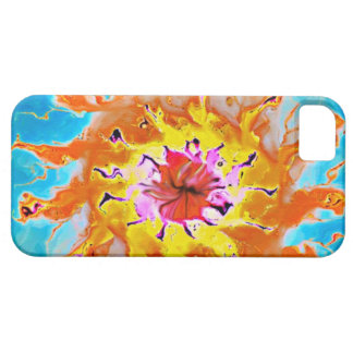 Abstract Orange Sun on a Light Blue Background iPhone SE/5/5s Case