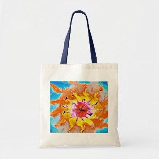 Abstract Orange Sun on a Light Blue Background Tote Bag