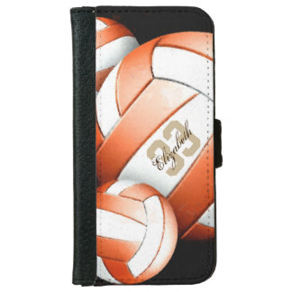 Abstract Orange White Volleyballs on Black Wallet Phone Case For iPhone 6/6s