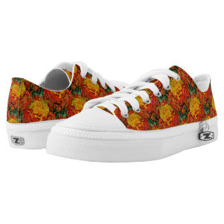 Abstract Orange Yellow Green Pattern Low-Top Sneakers