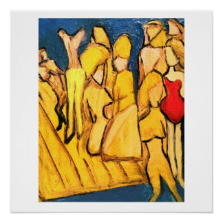 Abstract Original Painting, a group beaching it. Poster