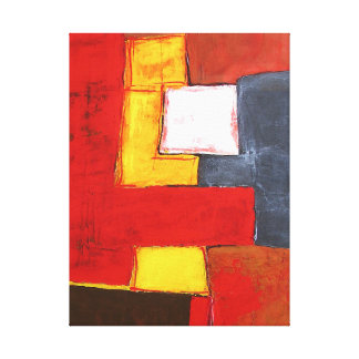 Abstract Original Painting Modern Red Yellow Canvas Print