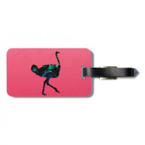 Abstract Ostrich  Luggage Tag w/ leather strap