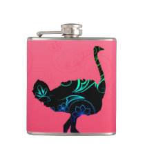 Abstract Ostrich Vinyl Wrapped Flask
