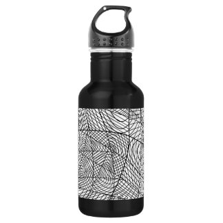 Abstract Overlapping Lines Pattern Stainless Steel Water Bottle