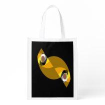 ABSTRACT OWL REUSABLE GROCERY BAG