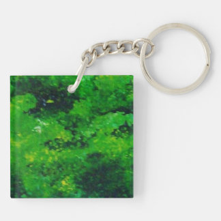 Abstract Pains Double-Sided Square Acrylic Keychain