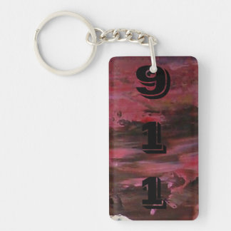 Abstract Pains Rectangular Acrylic Keychain