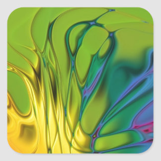 Abstract Paint Design Colorful Rainbow Square Sticker