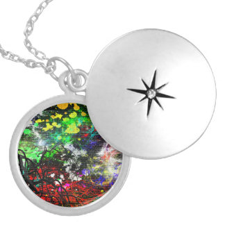 Abstract Paint Silver Plated Necklace