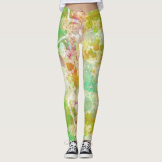 Abstract Paint Spatters in Green and Orange Leggings