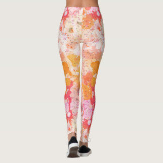 Abstract Paint Spatters in Pink and Orange Leggings