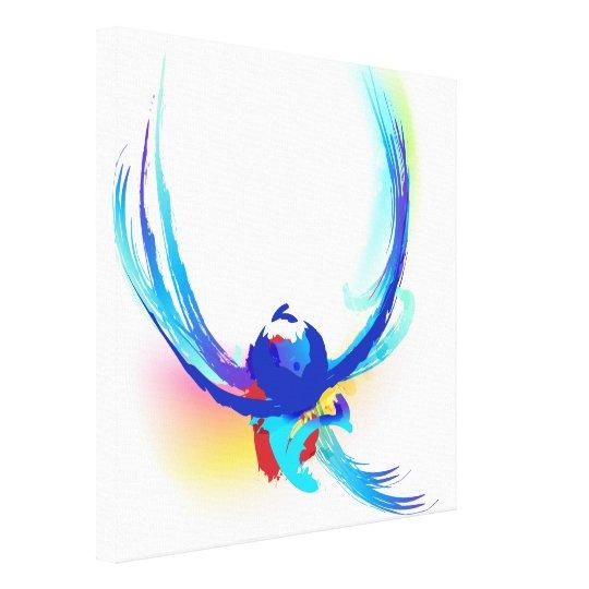 Abstract Paint Splatter Bird in Flight Canvas Print