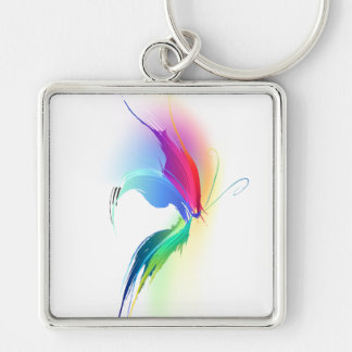 Abstract Paint Splatter Butterfly Silver-Colored Square Keychain