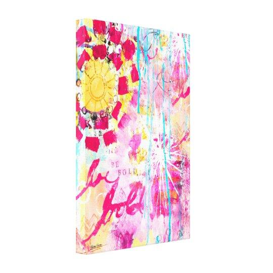 Abstract Paint Splatter Colorful Bright Pink Aqua Canvas Print
