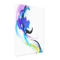 Abstract Paint Splatter Morning Glory Gallery Wrap Canvas