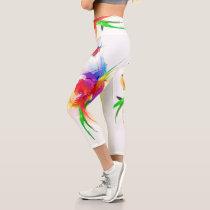 Abstract Paint Splatter Rainbow Lorikeet Capri Leggings
