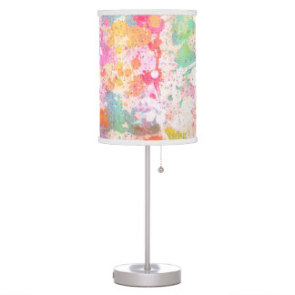 Abstract Paint Splatters Multi Colored Pastels Table Lamp