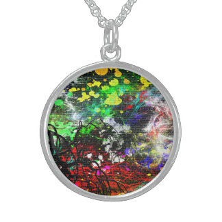 Abstract Paint Sterling Silver Necklace