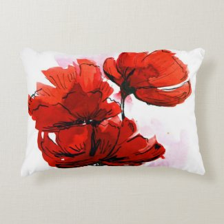 Abstract painted floral background 2 accent pillow